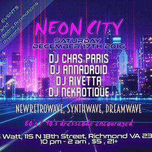 NEON CITY: NewRetrowave & Synthwave Music 12/17/16