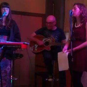 Phil Caffrey and Molly Sharp singing on Radio Clatterbridge