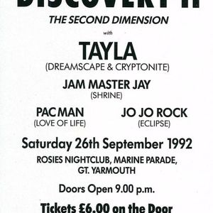 Jam Master Jay & Dj Tayla @ Discovery2 @ Rosies Night Club Gt Yarmouth 26th September 1992
