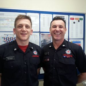 Breakfast with Phil Gough 24 April 2018 (Scott Nickson and Graham Bennett, Leyland Fire Station)