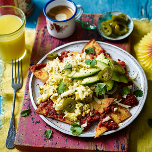 Chilaquiles rojos (brunch dish of Mexican nachos with scrambled eggs) SAINSBURY'S MAG Radio Gorgeous