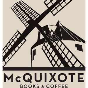 Trevor DeCuir and Jeff Wessel with McQuixote books and coffee