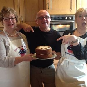 The Great Expat Bake Off with Jerome and  Margaret & Angie making coffee & walnut cake 16th Jan 2017