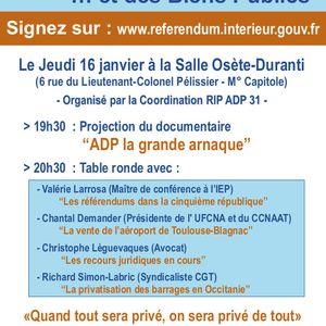 """""""La vente des aéroports et des biens publics"""" - Table ronde, salle Osète à Toulouse le 16/01/2020"""