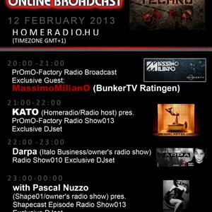 20-21h(GMT+1):KATO PrOmO-Factory Radio Broadcast Exclusive Guest: MassimoMilianO (BunkerTV Ratingen)