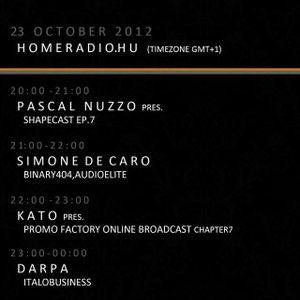 21-22h (GMT+1): PrOmO-Factory Radio Broadcast Special Exclusive Guest: Simone De Caro (binary 404)