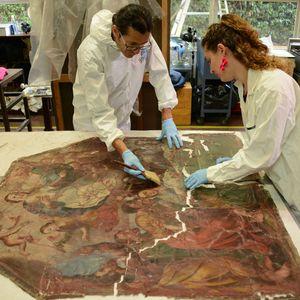Restauración de lienzos de Ocuilan