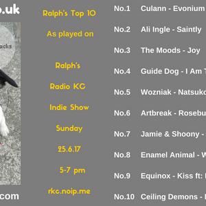 Ralph's Top 10 Chart as played on Radio KC - 25.6.17