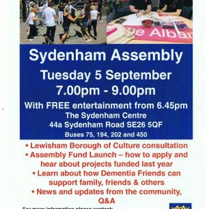 Recording of the Sydenham Assembly 5th September 2017