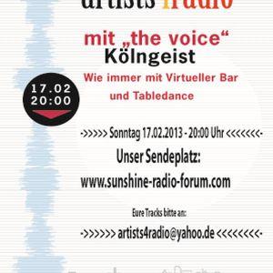 Artists4Radio Sendung vom 17.02.2012 auf Sunshine Radio