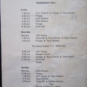 CHRIS HILL,ROBBIE VINCENT,FROGGY & CO,LIVE AT CAISTER No3 SUNDAY 20th APRIL 1980 FINALE
