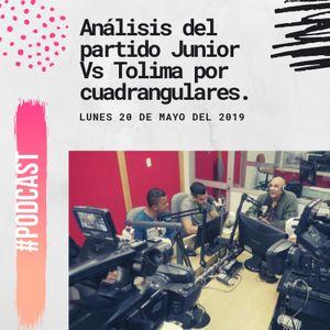 Análisis del partido Junior Vs Tolima por cuadrangulares.
