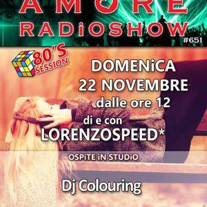 LORENZOSPEED presents AMORE Radio Show 651 Domenica 22 Novembre 2015 with DJ COLOURiNG complete
