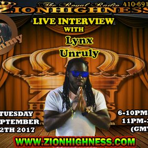 LYNX UNRULY LIVE INTERVIEW WITH DJ JAMMY ON ZIONHIGHNESS091217