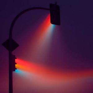 between the lights