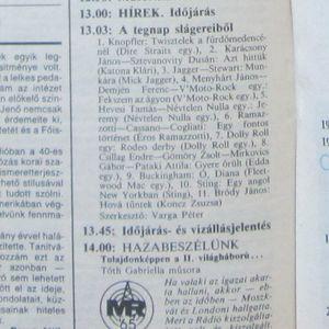A tegnap slágereiből. Szerkesztő: Varga Péter. 1990.11.28. Petőfi rádió. 13.03-13.45.