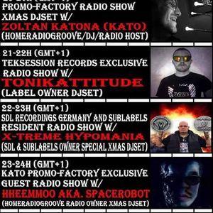 2016 12 20 20-21h (gmt+1) PrOmO-Factory Radio Show Exclusive Xmas DJset w/Zoltán Katona (Kato)