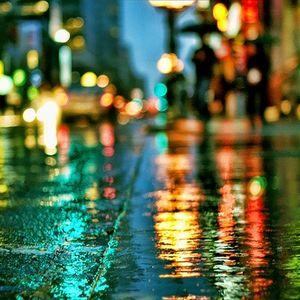 Wet city streets.
