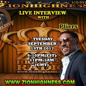 PLIERS LIVE INTERVIEW WITH DJ JAMMY ON ZIONHIGHNESS RADIO 091917