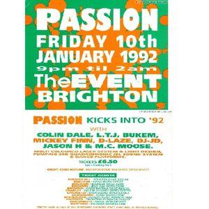 Colin Dale + LTJ Bukem with MC Moose @ Passion, Kicks into 92, The Event, Brighton, 10th Jan 1992