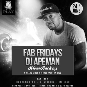 FabFridays 24th June 2016 set 2- Dj Apeman ( live ) @clubPlay