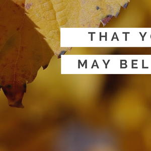 10.16.16 That You May Believe - Lose to Gain