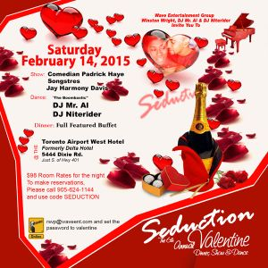 """SEDUCTION 2015 """"THE 6th ANNUAL VALENTINE DINNER, SHOW & DANCE AFTER PARTY MIX"""