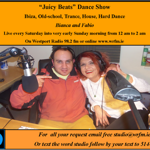 """Juicy Beats"" dance show only on Westport Radio 98.2 fm every Saturday from 12 am to 2 am"