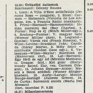 Örökzöld dallamok. Szerkesztő: Göczey Zsuzsa. 1980.04.08. Petőfi rádió. 15.30-16.27.