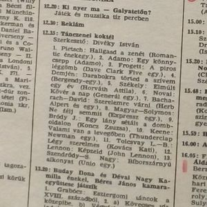 Tánczenei koktél. Szerkesztő: Divéky István. 1973.02.23. Kossuth rádió. 12.35-13.20.