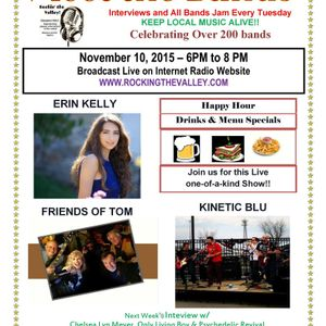 Rocking the Valley has Erin Kelly, Kinetic Blue and Friends of Tom on 11/10/2015