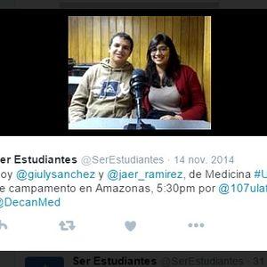 Ser Estudiantes / 14-11-14 / Invitados Jaer Ramírez y Giluliana Sánchez de la Facultad de Medicina