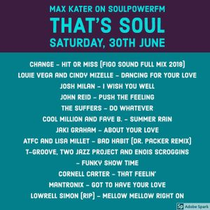 Max Kater on SoulpowerFM Germany - That's Soul  30th June 2018
