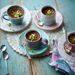 Chocolate, sour cherry and pistachio pots - GORGEOUS KITCHEN RECIPE with Sainsbury's Magazine