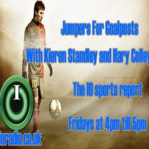 Jumpers for goalposts with Kieron Standley, Harry Colley and Tom Mortlock on IORadio 201115