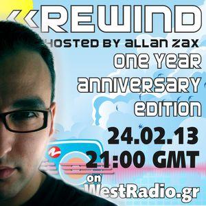 Allan Zax - REWIND Episode 13 (Anniversary Edition) on WestRadio (24.02.13)