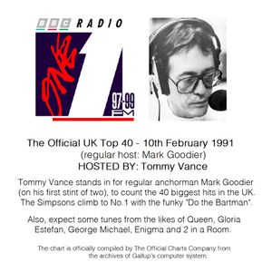Radio 1 UK Top 40 chart with Tommy Vance - 10/02/1991