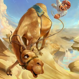 in space with the camel