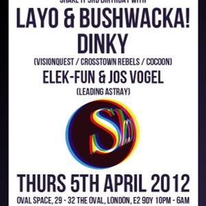 Elek-Fun&Jos Vogel B2B@Shake It 3rd Anniversary w\Dinky and Layo&Bushwacka  5\4\2012 London