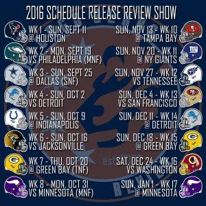 2016 Off-Season Episode #4 - NFL Schedule Release Show
