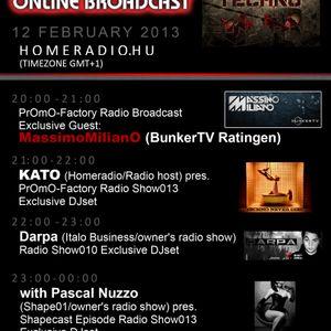 21h-22h (GMT+1) KATO (Homeradio/radio host) PrOmO-Factory Radio Show013 Exclusive DJSet