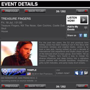 Treasure Fingers Live on Awdio.com @ Temple SF July 2010