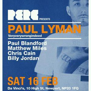 Billy Jordan Deep/Tech Promo Mix for PERC Presents Paul Lyman