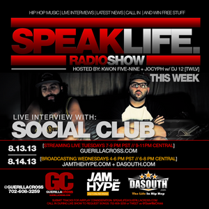 SPEAKLIFE Radio Show Episode 7.4 interview with Social Club