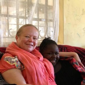 Kate chatting to Tracey from Motherwell Cheshire who has just returned from Hope House, Kenya