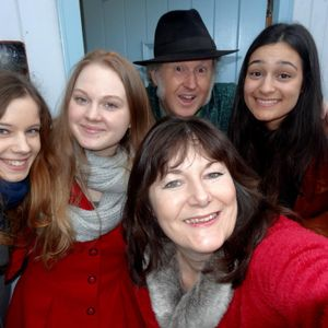 Kelly, Zoe , Kaity and Helen from Folkstock with Greg on Cambridge 105 Dec 13th 2015