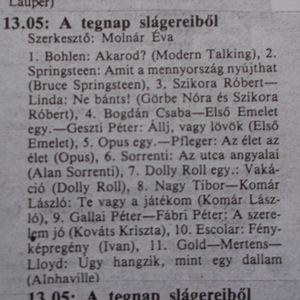 A tegnap slágereiből. Szerkesztő: Molnár Éva. Petőfi rádió. 13.05-13.45. 1989.