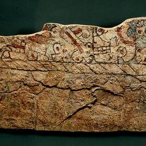 Facsimil del mural prehispanico Altar Tzompantli de Tenayuca