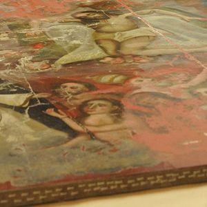 Trabajos de restauración en lienzo del Siglo XVIII, tras los sismos