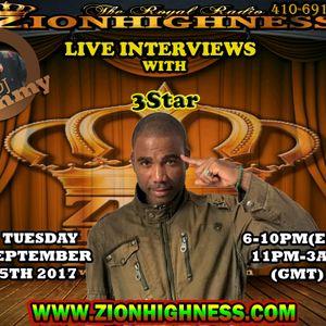 3STAR LIVE INTERVIEW WITH DJ JAMMY ON ZIONHIGHNESS RADIO 090517